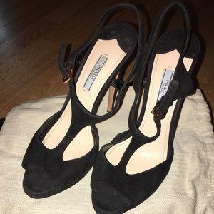 Prada black suede heels size 38.5